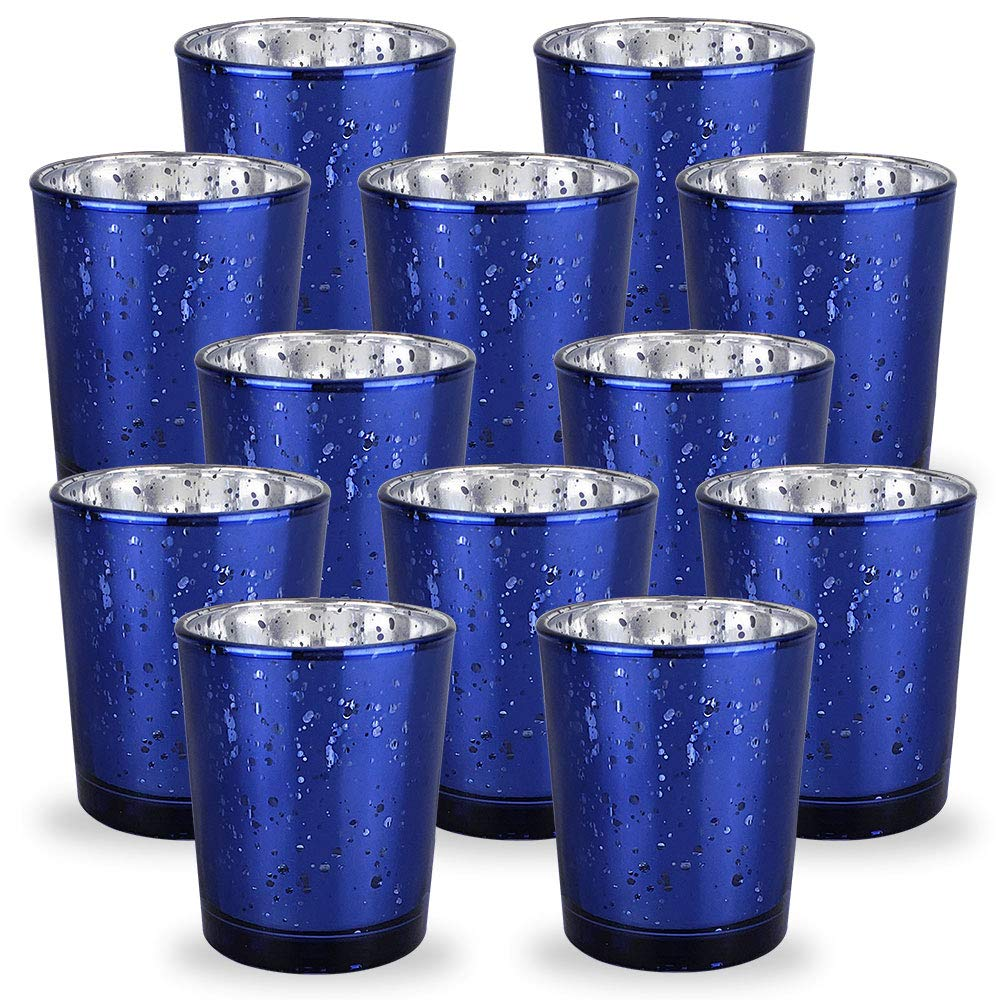 Mercury Glass Votive Candle Holder 2.75-Inch (12pcs, Speckled Navy Blue) - Premier