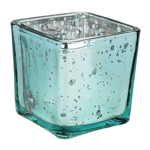 "Mercury Glass Votive Candle Holder 2"" Speckled Aqua (Square)"