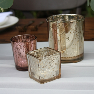"""Mercury Glass Votive Candle Holder 2"""" Speckled Gold (Square)"""