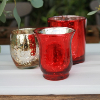 "Mercury Glass Votive Candle Holder 3.5"" H Speckled Red (Hurricane)"