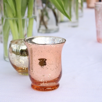 "Mercury Glass Votive Candle Holder 3.5"" H Speckled Rose Gold (Hurricane)"