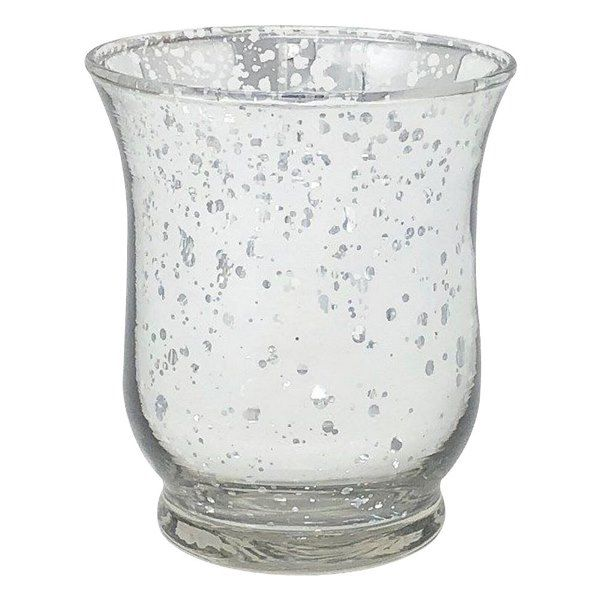 "Mercury Glass Votive Candle Holder 3.5""H Speckled Silver (Hurricane)"