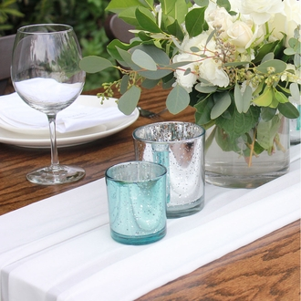 "Mercury Glass Votive Candle Holder 3"" H Speckled Aqua"