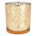 "Mercury Glass Votive Candle Holder 3""H Speckled Gold"