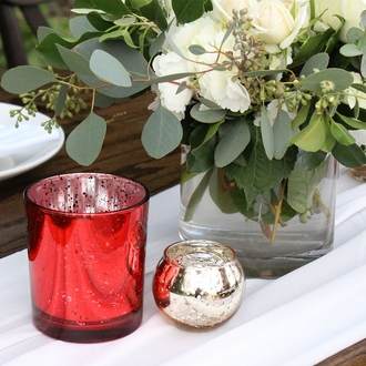 """Mercury Glass Votive Candle Holder 3"""" H Speckled Red"""