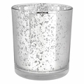 "Mercury Glass Votive Candle Holder 3""H Speckled Silver"
