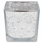 "Mercury Glass Votive Candle Holder 3""H Speckled Silver (Square)"