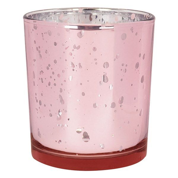 "Mercury Glass Votive Candle Holder 4"" H Speckled Blush"