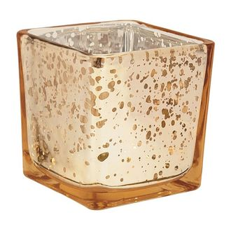 """Mercury Glass Votive Candle Holder 4"""" H Speckled Gold (Square)"""