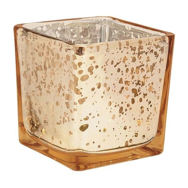 "Mercury Glass Votive Candle Holder 4"" H Speckled Gold (Square)"