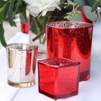 "Mercury Glass Votive Candle Holder 4"" H Speckled Red"
