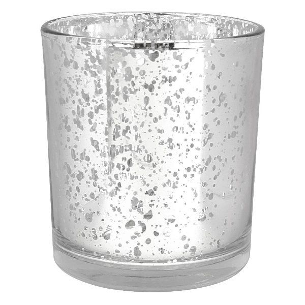 Mercury Glass Votive Candle Holder 4 H Speckled Silver