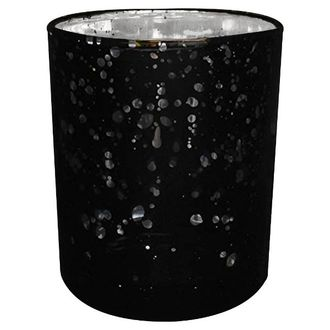 "Mercury Glass Votive Candle Holder 4"" Speckled Black"