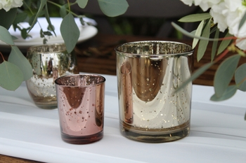 Mercury Glass Votive Candle Holder 4in Speckled Gold