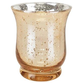 "Mercury Glass Votive Candle Holder 6""H Speckled Gold (Hurricane)"