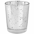 """Mercury Glass Votive Candle Holder 2.75""""H Speckled Silver"""