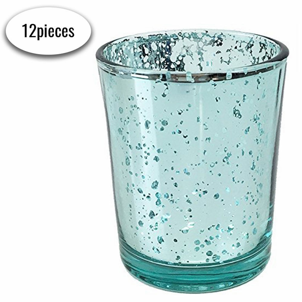 "Mercury Glass Votive Candle Holders 2.75""H Speckled Aqua Blue (Set of 12) - Premier"