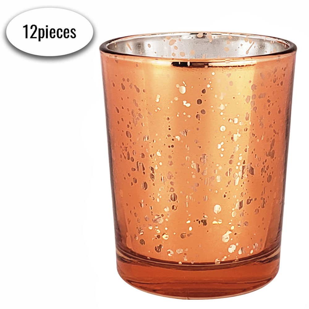 "Mercury Glass Votive Candle Holders 2.75""H Speckled Copper (Set of 12) - Premier"