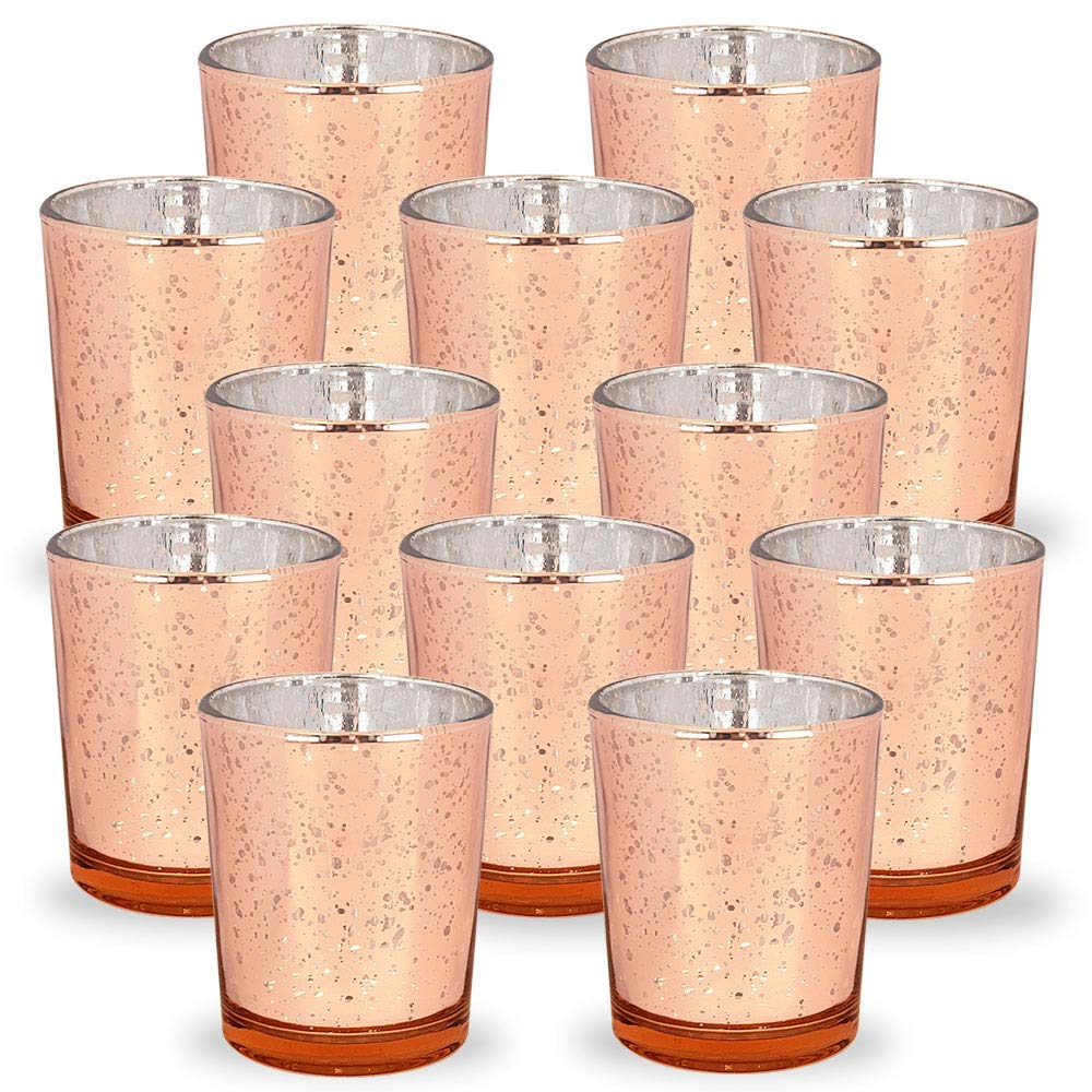 Mercury Glass Votive Candle Holders 2.75-Inch Speckled Rose Gold (Set of 12) - Premier
