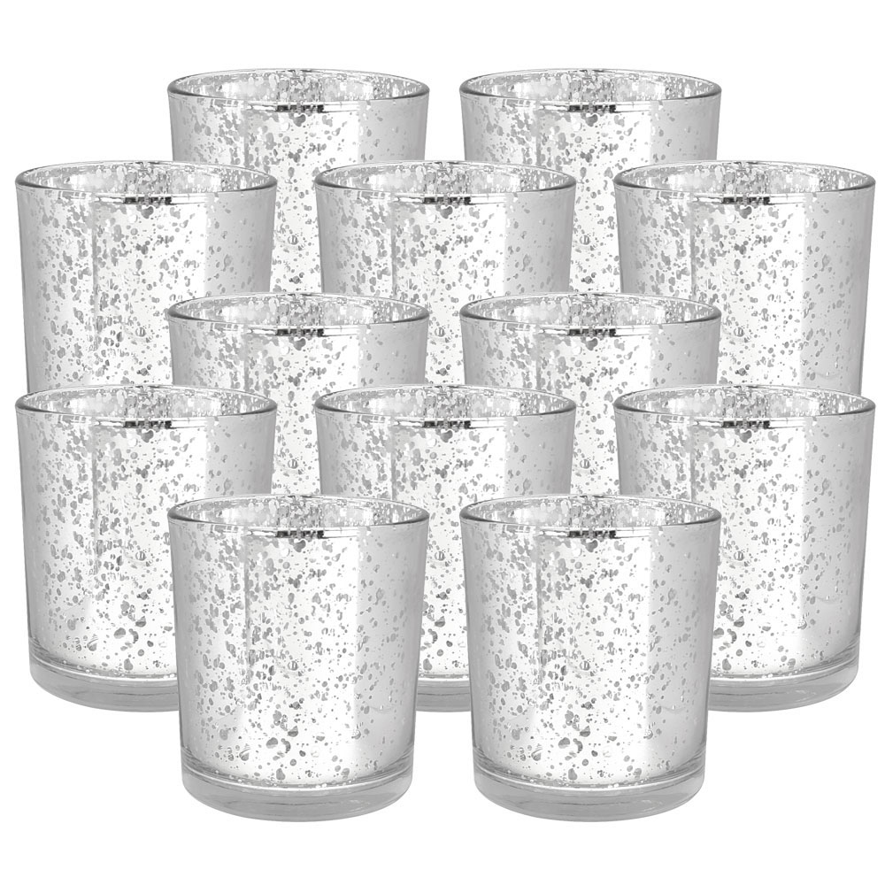 "Mercury Glass Votive Candle Holders 3""H Speckled Silver (Set of 12) - Premier"