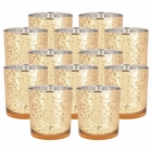 Mercury Glass Votive Candle Holders 4in Speckled Gold (Set of 12) - Premier