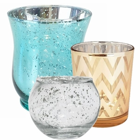 Mercury/Metallic Glass Votive Candle Holders
