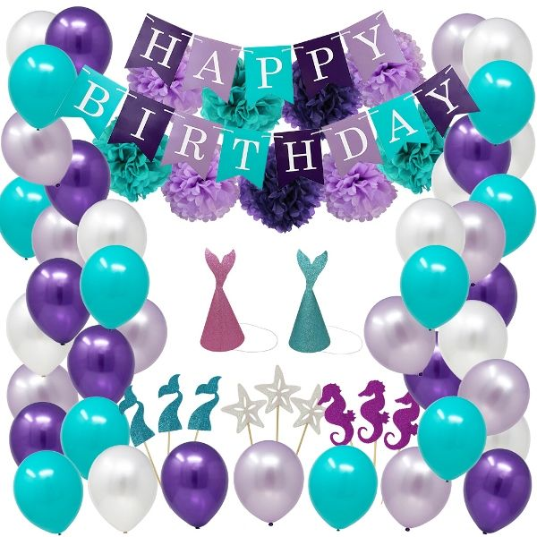 Mermaid Birthday Hanging Decorating Kit 76pcs