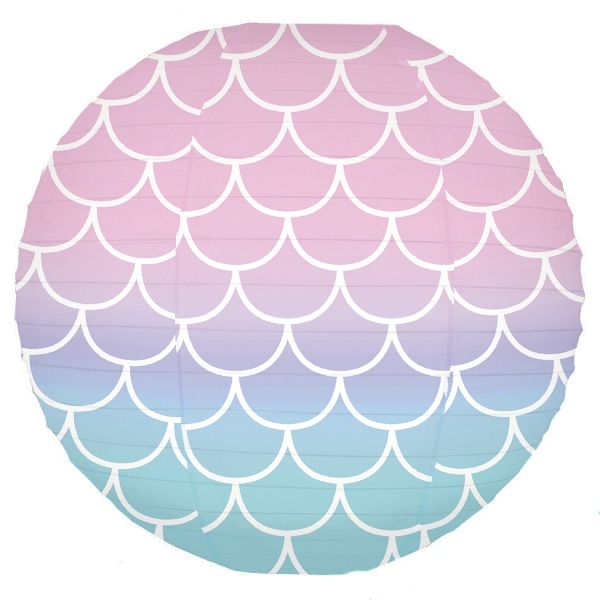 Mermaid Ombre Scales Pattern 12inch Paper Lantern