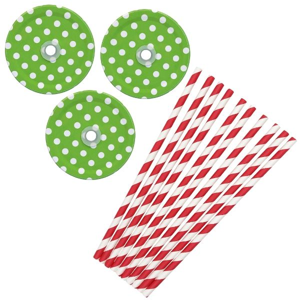 Merry and Bright Mason Jar Beverage Kit 12pcs Lids 25pcs Paper Straws -Premier