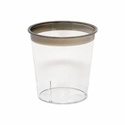 Metallic Dark Silver Rimmed Plastic Shot Glass 1oz 30pcs