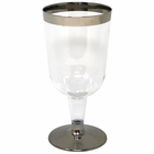 Metallic Dark Silver Rimmed Plastic Wine Glasses 6oz 6pcs