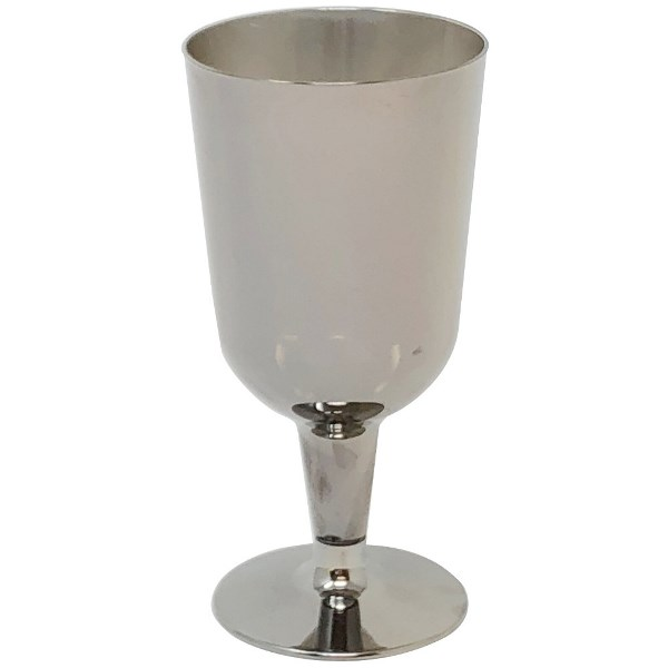 Metallic Dark Silver Solid Plastic Wine Glasses 6oz 6pcs