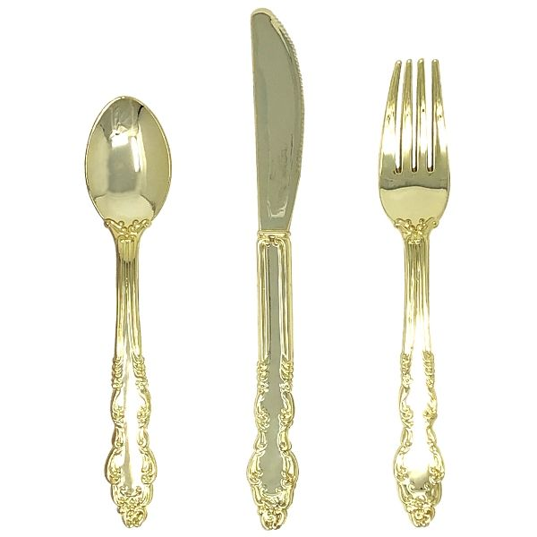 Metallic Gold Plastic Cutlery 24pcs Assortment