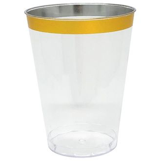 Metallic Gold Rimmed Plastic Drinking Cups 6oz 6pcs