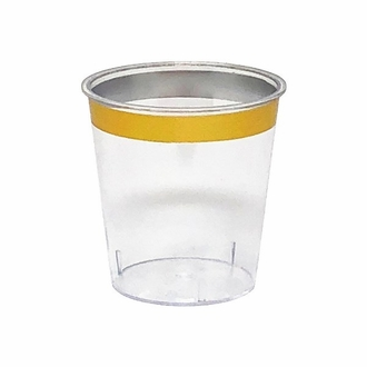 Metallic Gold Rimmed Plastic Shot Glass 1oz 30pcs