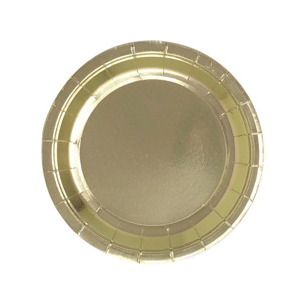 Metallic Gold Round Dessert Paper Plate 7.25in 8pcs