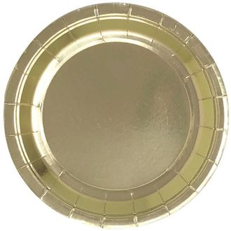 Metallic Gold Round Paper Plate 9in 8pcs