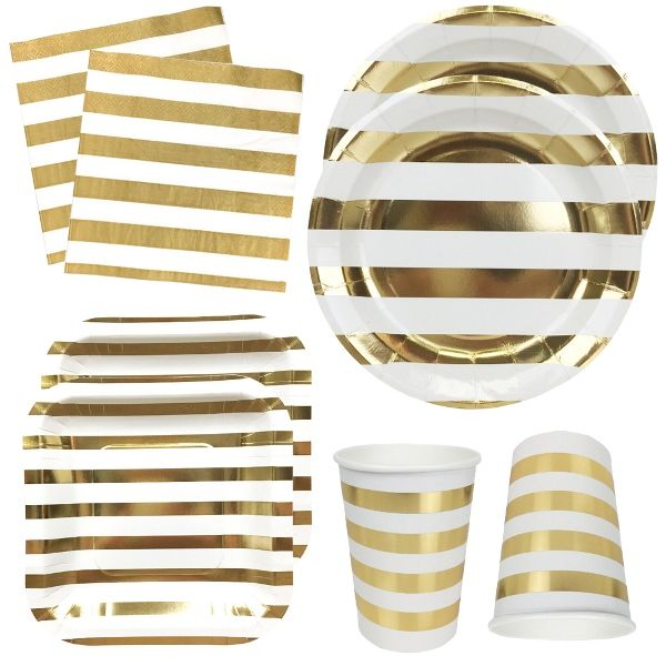 Metallic Gold Stripes Tableware Kit 56pcs - Premier