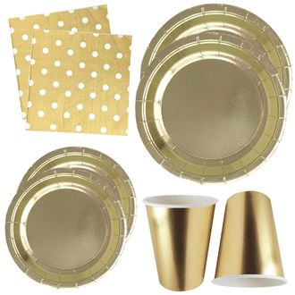 Metallic Gold Tableware Kit 44pcs - Premier