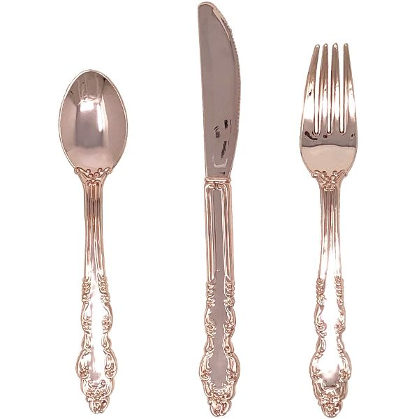 Metallic Rose Gold Plastic Cutlery 24pcs Assortment