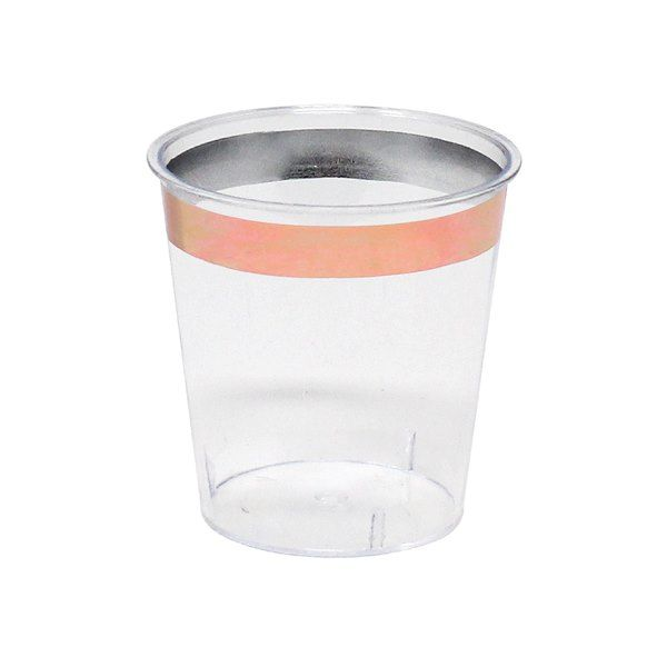 Metallic Rose Gold Rimmed Plastic Shot Glass 1oz 30pcs
