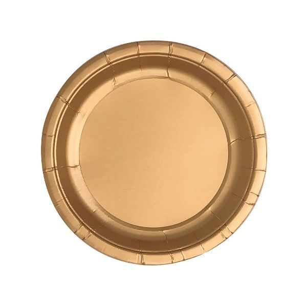 Metallic  Rose Gold Round Dessert Paper Plate 7.25in 8pcs