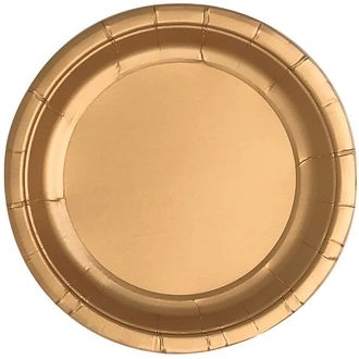 Metallic Rose Gold Round Paper Plate 9in 8pcs