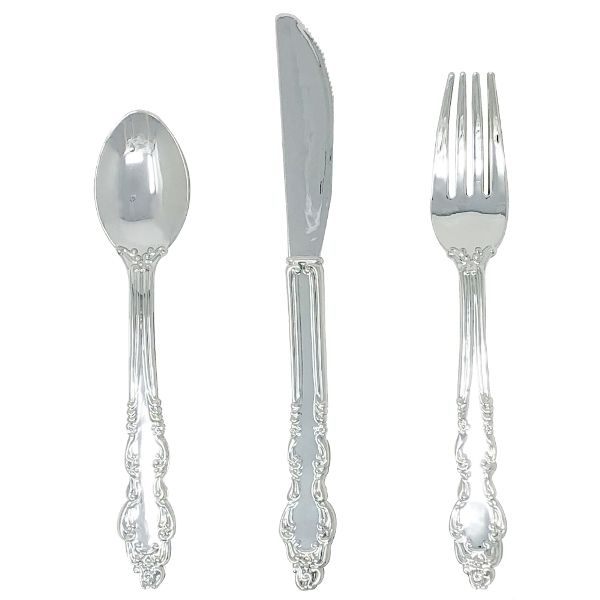 Metallic Silver Plastic Cutlery 24pcs Assortment