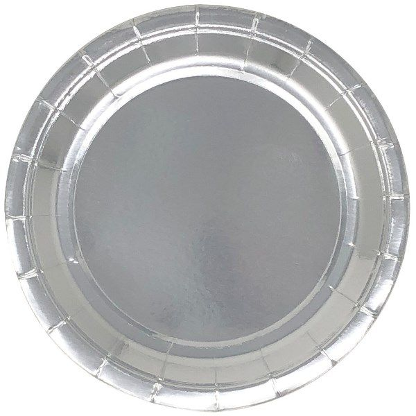Metallic Silver Round Paper Plate 9in 8pcs