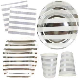 Metallic Silver Stripes Tableware Kit 56pcs - Premier
