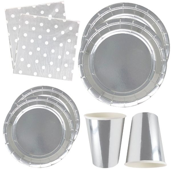 Metallic Silver Tableware Kit 44pcs - Premier