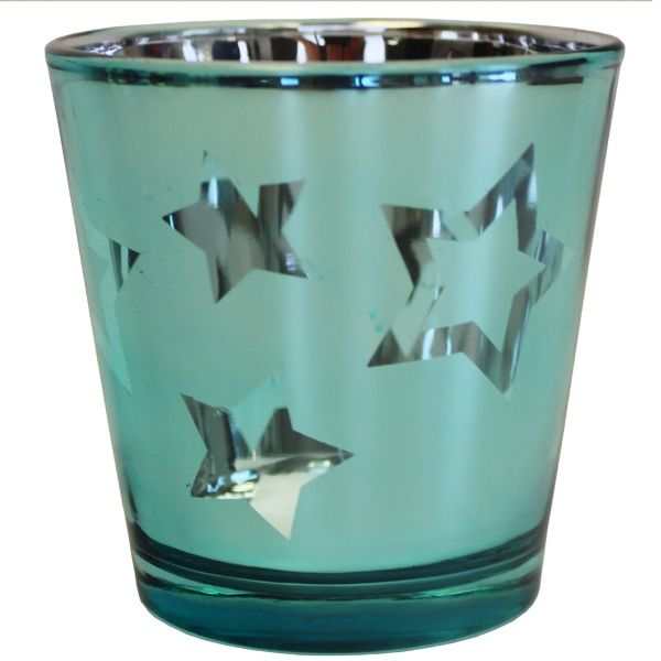 Metallic Star Candle Holder Turquoise Blue 2in