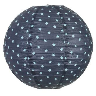 Midnight Navy Blue Stars Round Paper Lantern 12in