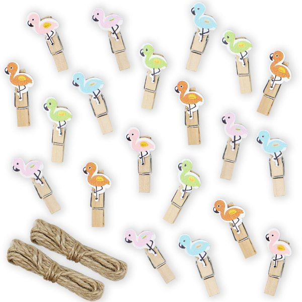 "Mini 1.5"" Craft Wood Clothespins 20pcs Pastel Flamingos"